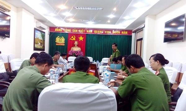 Quang cảnh buổi họp chiều 23-8 của Công an TP.HCM