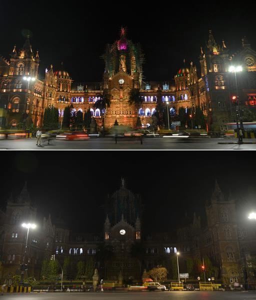 Nhà ga Chhatrapati Shivaji Terminus tại Mumbai Ấn Độ cũng tắt đèn trong 1 tiếng đồng hồ. Ảnh: AFP 1