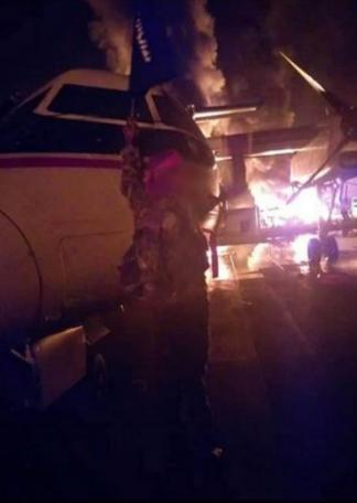 Hiện trường căn cứ quân sự Trại Simba ở miền đông Kenya bị tấn công hôm 5-1. Ảnh: AL-SHABAAD công bố