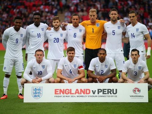 Đội hình tuyển Anh ở trận giao hữu mới đây với tuyển Peru