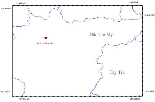 Bản đồ vị trí động đất. Ảnh : Viện Vật lý địa cầu