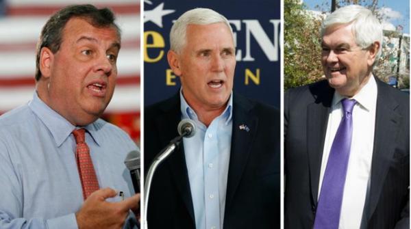 Một trong ba ông (từ trái sang) Chris Christie, Mike Pence, Newt Gingrich sẽ là phó tướng của ông Trump.
