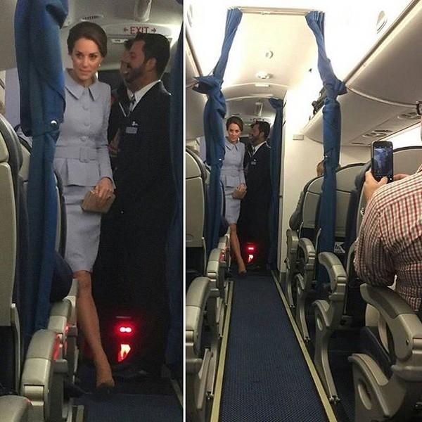 Hình ảnh hành khách chụp lại cảnh Công nương Kate Middleton vào máy bay.