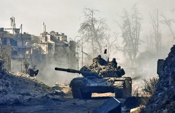 Quân chính phủ tại quận Sahat al-Melh, Aleppo.