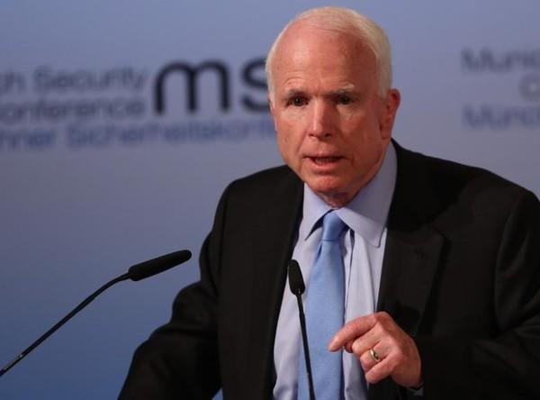 Nghị sĩ John McCain tại hội nghị An ninh Munich ở Đức ngày 17-2. Ảnh: REUTERS
