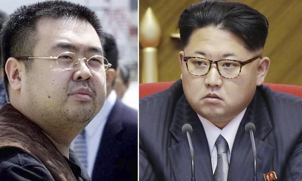 Ông Kim Jong-nam (trái) và em trai cùng cha khác mẹ Kim Jong-un. Ảnh: AP