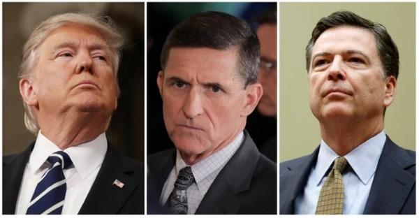 Tổng thống Trump (trái) từng yêu cầu Giám đốc FBI James Comey (phải) ngưng điều tra quan hệ giữa Cố vấn An ninh Quốc gia Michael Flynn (giữa) với Nga. Ảnh: REUTERS