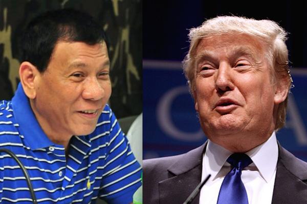 Tổng thống Mỹ Trump (phải) khen ngợi cuộc chiến truy quét ma túy của Tổng thống Philippines Duterte (trái). Ảnh: ODYSSEY ONLINE