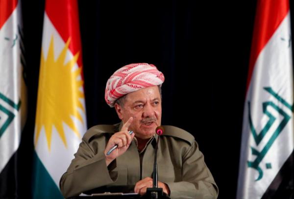 Lãnh đạo người Kurd tại Iraq Masoud Barzani trong một cuộc họp báo ở TP Erbil (bắc Iraq) ngày 24-9. Ảnh: REUTERS