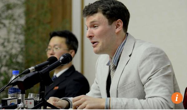 Sinh viên Otto Warmbier (phải) trong cuộc họp báo sau khi bị Triều Tiên bắt. Ảnh: SCMP