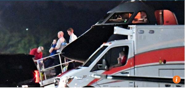 Sinh viên Otto Warmbier được máy bay chở về Mỹ trong tình trạng hôn mê. Ảnh: SCMP