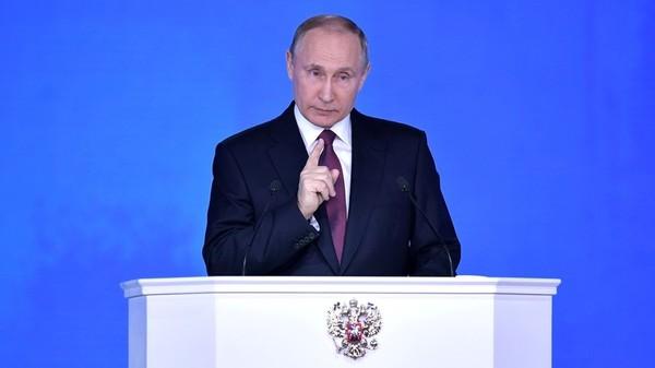 Tổng thống Nga Vladimir Putin phát biểu thông điệp liên bang trước Quốc hội Nga ngày 1-3. Ảnh: RUSSIA TODAY