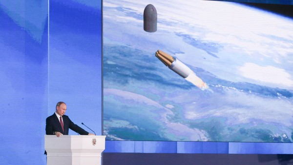 Tổng thống Nga Vladimir Putin phát biểu thông điệp liên bang ngày 1-3. Ảnh: TASS
