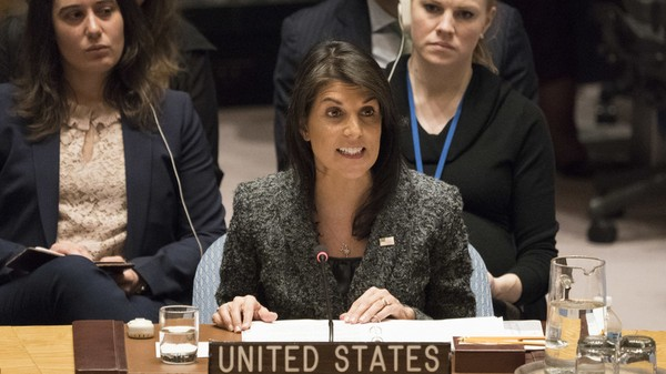 Đại sứ Mỹ tại LHQ Nikki Haley tại một kỳ họp Hội đồng Bảo an LHQ. Ảnh: AFP