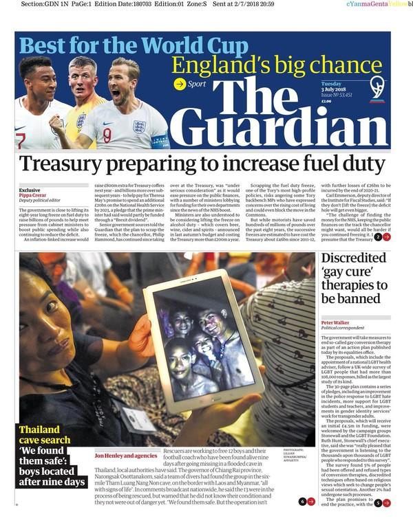 Báo THE GUARDIAN (Anh) ấn bản ngày 3-7 đưa tin tìm thấy đội bóng nhí Thái Lan.