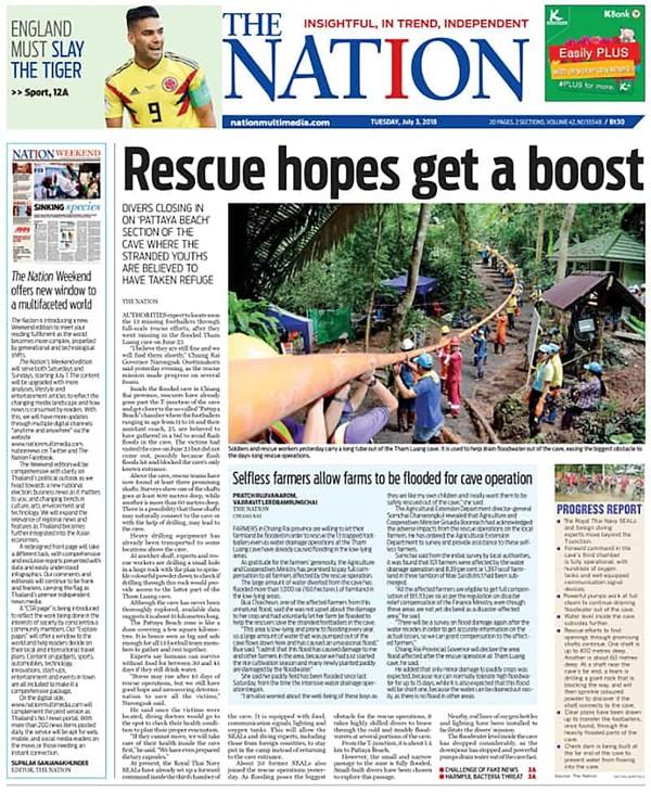 Tờ THE NATION sáng nay 3-7 cũng thiếu thông tin các thợ lặn đã tìm thấy đội bóng nhí còn sống.