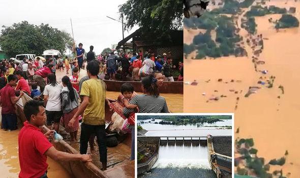 Người dân phải sơ tán sau khi một đập phụ thuộc dự án thủy điện Xi-Pian Xe-Namnoy ở Lào vỡ tối 23-7. Ảnh: EXPRESS