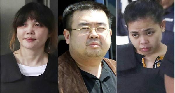 Hai bị cáo Đoàn Thị Hương (trái), Siti Aisyah (phải) và ông Kim Jong-nam (giữa). Ảnh: AFP