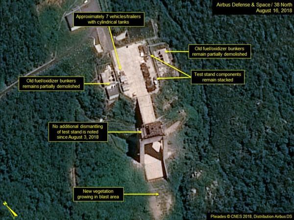 Triều Tiên đã ngưng hoạt động tháo dỡ Trạm phóng vệ tinh Sohae từ ngày 3-8. Ảnh: 38 NORTH
