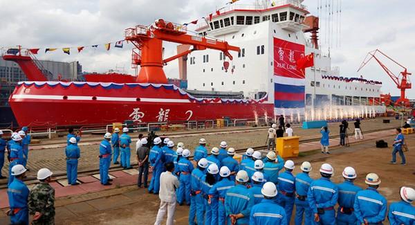 Lễ ra mắt tàu phá băng Tuyết Long 2 tại nhà máy đóng tàu Giang Nam ở Thượng Hải ngày 10-9. Ảnh: REUTERS