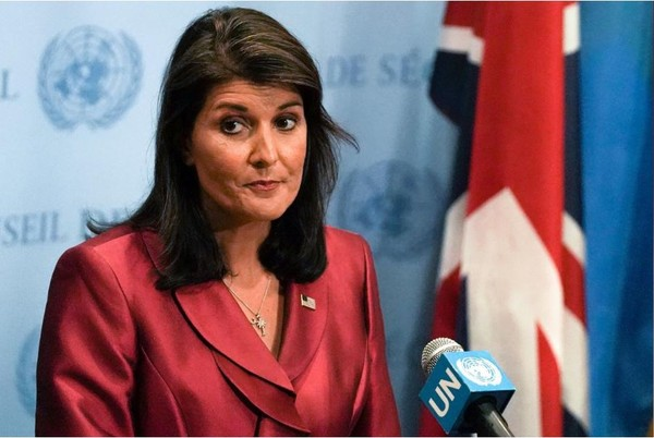 Đại sứ Mỹ tại LHQ Nikki Haley bác bỏ cáo buộc của Iran rằng Mỹ liên quan vụ tấn công. Ảnh: REUTERS