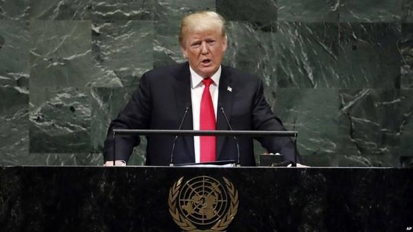 Tổng thống Mỹ Donald Trump phát biểu tại kỳ họp Đại hội đồng Liên Hiệp Quốc ngày 25-9. Ảnh: GETTY IMAGES