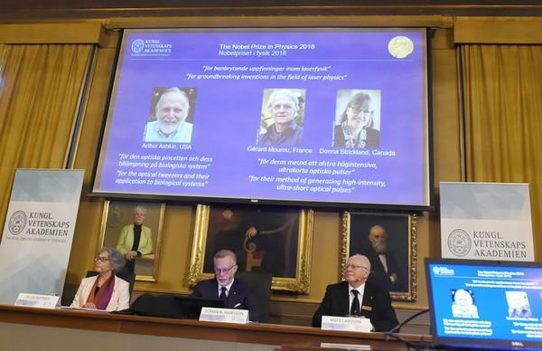 Ba nhà vật lý Mỹ, Pháp, Canada cùng được vinh danh giải thưởng Nobel Vật lý 2018. Ảnh: THE LOCAL
