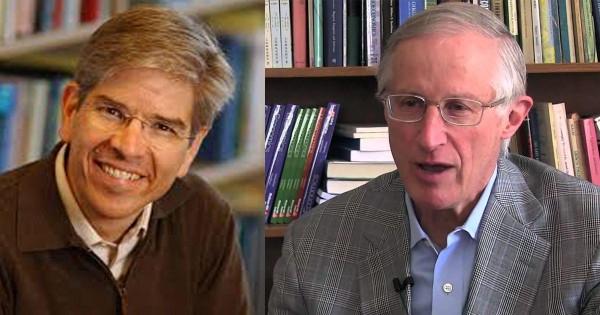 Hai nhà khoa học Mỹ Paul Romer (trái) và William Nordhaus. Ảnh: BUSINESS INSIDER