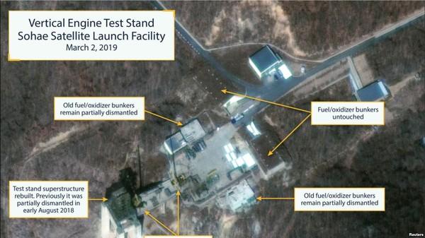 Ảnh vệ tinh được 38 North và CSIS căn cứ vào kết luận Triều Tiên đang khôi phục bãi thử tên lửa nằm trong Trạm phóng vệ tinh Sohae ở Tongchang-ri. Ảnh: REUTERS