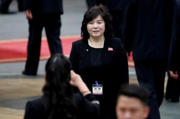 Thứ trưởng Ngoại giao Triều Tiên Choe Son-hui tại Hà Nội ngày 1-3. Ảnh: REUTERS