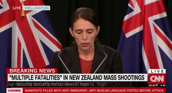 Thủ tướng New Zealand Jacinda Ardern xác nhận có đến 40 người chết và 20 người bị thương trong các vụ xả súng hàng loạt tại các đền thờ ở TP Christchurch trưa 15-3. Ảnh: CNN