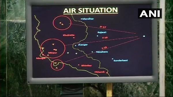 Hình ảnh radar cho thấy có 2 chiếc F-16 của Pakistan tham gia không chiến với Ấn Độ. Ảnh: ANI