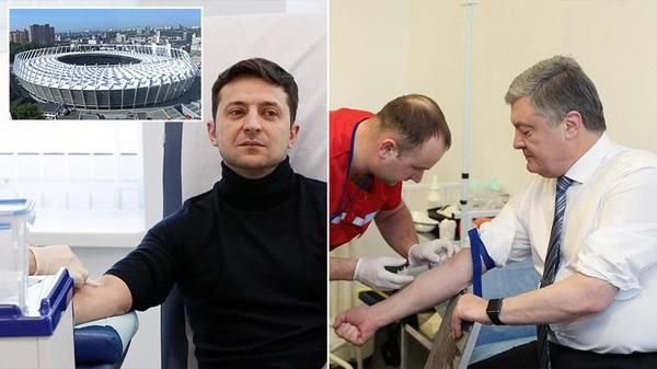 Hai ông Zelenskiy (trái) và ông Poroshenko cùng thử máu kiểm tra ma túy và kết quả cả hai đều âm tính với ma túy. Ảnh: REUTERS
