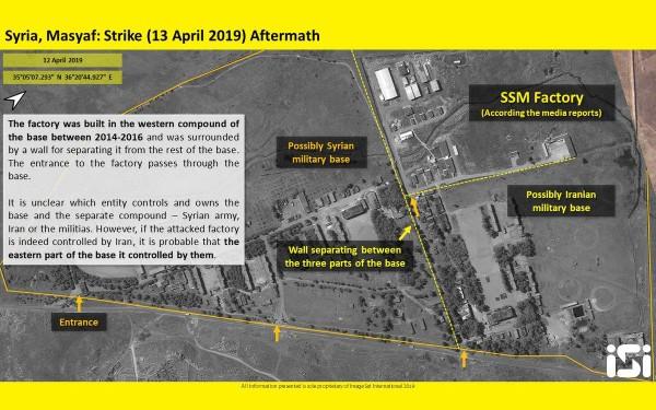 Hình ảnh cơ sở quân sự được cho là của Iran ở Syria trúng không kích của Israel ngày 13-4. Ảnh: IMAGESAT INTERNATIONAL