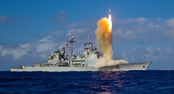 Tàu USS Lake Erie được trang bị tên lửa đánh chặn SM-3 Block 1B trong một cuộc tập trận hải quân ở Thái Bình Dương. Ảnh: US NAVY