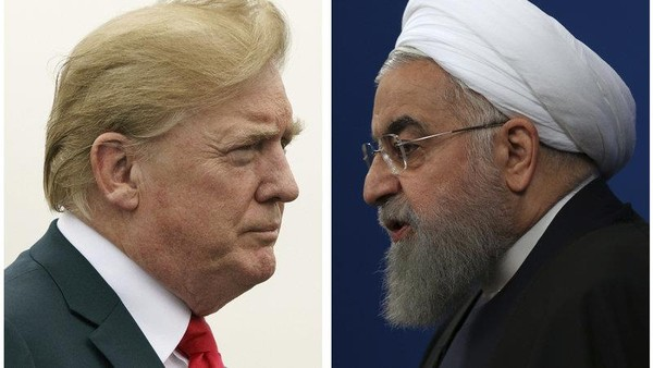Có thông tin Nhà Trắng đã chia sẻ cho đại sứ quán Thụy Sĩ tại Iran một số điện thoại mà các Tổng thống Iran Hassan Rouhani (trái) có thể dùng để tiếp cận với Tổng thống Mỹ Donald Trump (phải). Ảnh: NPR