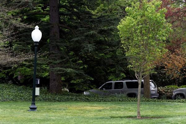 Nơi cây sồi được trồng trong sân Nhà Trắng chỉ còn là một khoảnh cỏ màu vàng (giữa) trống trơn. Ảnh: REUTERS