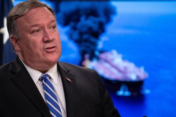 Ngoại trưởng Mỹ Mike Pompeo tuyên bố Mỹ sẽ đảm bảo tự do lưu thông qua eo biển Hormuz. Ảnh: AFP