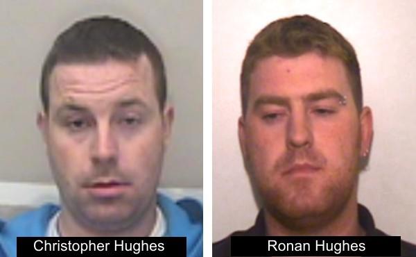 Hai nam giới này là hai anh em tên Ronan Hughes 40 tuổi và Christopher Hughes 34 tuổi, công dân hạt Armagh ở Bắc Ireland, bị truy tìm với nghi ngờ giết người và buôn người. Ảnh: Trang web cảnh sát hạt Essex