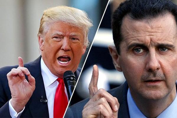 """Ông Assad (phải) """"khen"""" ông Trump (trái) là tổng thống Mỹ trung thực nhất. Ảnh: LOBELOG"""