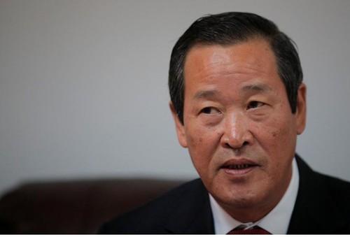 Đại sứ Triều Tiên tại Liên Hiệp Quốc Kim Song tại cuộc họp báo ở New York (Mỹ) ngày 7-12. Ảnh: REUTERS