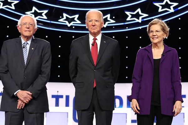 (Từ trái sang): Các ứng viên Dân chủ Bernie Sanders, Joe Biden, Elizabeth Warren. Ảnh: POLITICO
