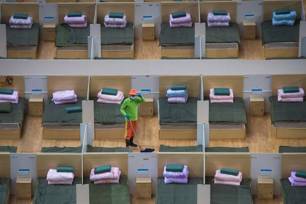 Phòng bệnh chuẩn bị đón bệnh nhân ở Vũ Hán. Ảnh: AP