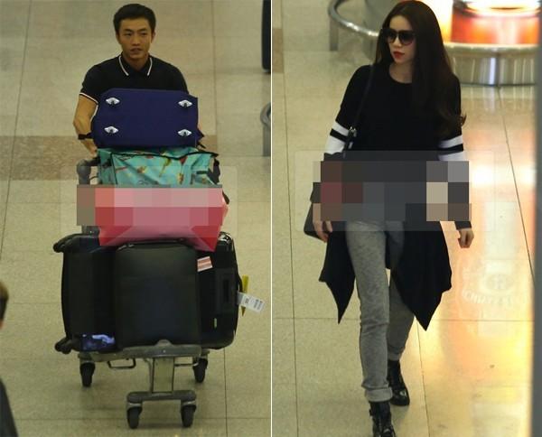 Đi cùng vợ tới lưu diễn ở Đài Loan, khi về tới sân bay, Cường Đô La một mình đẩy xe hành lý cồng kềnh để bà xã Hồ Ngọc Hà thảnh thơi.