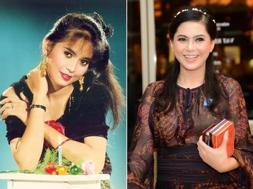 Thủy Tiên thưở còn đóng 'Vị đắng tình yêu' (trái) và nay khi đã là một doanh nhân. Bà cũng chính là mẹ chồng Hà Tăng.