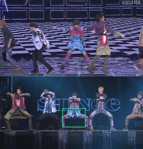 """Ngoài việc quên kéo khóa quần, sao nam Kpop cũng không hiếm lần phát xấu hổ vì sự cố trang phục. Taemin (SHINee) diễn rất sung trên sân khấu KBS Gayo Dejun 2013 mà không hay biết về chiếc quần phản chủ. Màn trình diễn truyền hình trực tiếp nên hàng trăm nghìn khán giả đã chứng kiến cảnh quẩn Taemin rách ngay phần nhạy cảm. Về sau, video ghi lại màn trình diễn còn bị """"chế"""" thành sự cố """"lộ hàng"""" tồi tệ hơn."""