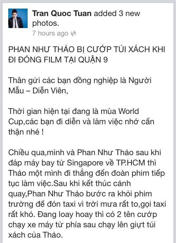 Quản lý của Phan Như Thảo chia sẻ sự việc cô bị cướp trên trang cá nhân.