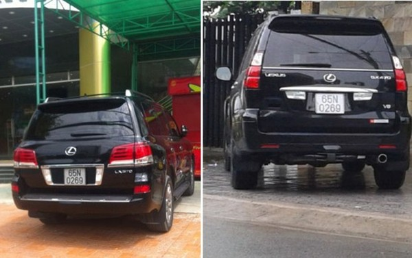 Hai chiếc xe Lexus cùng mang một biển số 65N 0269 - Ảnh: LÊ DÂN