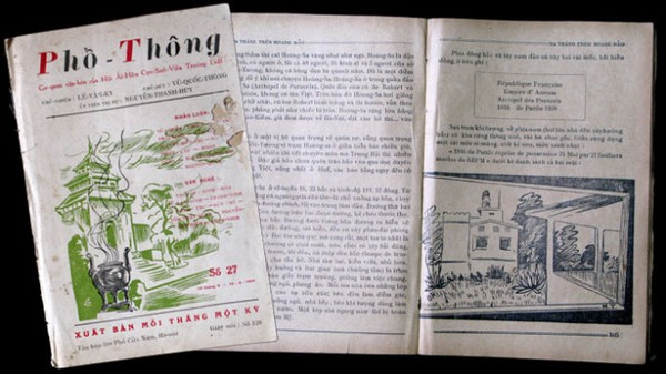 Trang bìa tạp chí Phổ Thông số 27, tháng 5-1954 và Hai trang trong bút ký Hoàng Sa năm 1954 - Ảnh: Lại Nguyên Ân sao chụp
