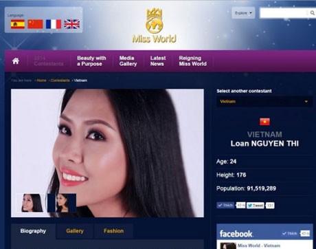 Hình ảnh Nguyễn Thị Loan trên trang website của cuộc thi Hoa hậu Thế giới năm 2014